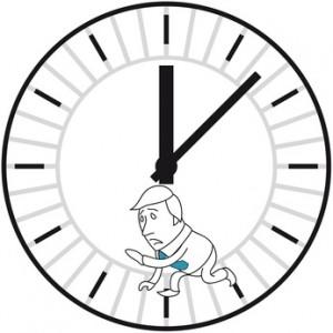 Stress; Geschäftsmann, Uhr, Hamsterrad, Lange Arbeitszeiten © rubysoho